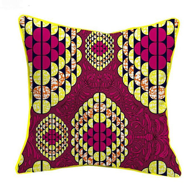 African Print Throw Pillow Case (Pink & yellow) - Afrilege