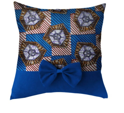 African Print Throw Pillow Case with Bow - Blue - Afrilege