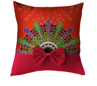 African Print Throw Pillow Case with Bow - red - Afrilege