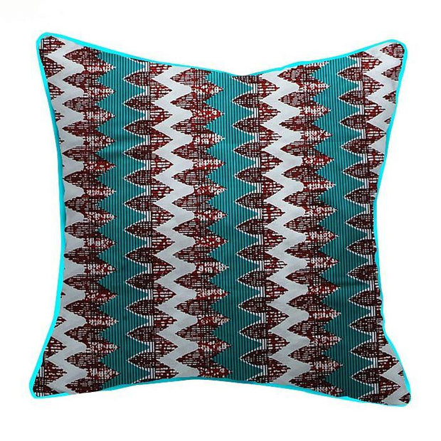 African Print Throw Pillow Covers - Green / white - Afrilege