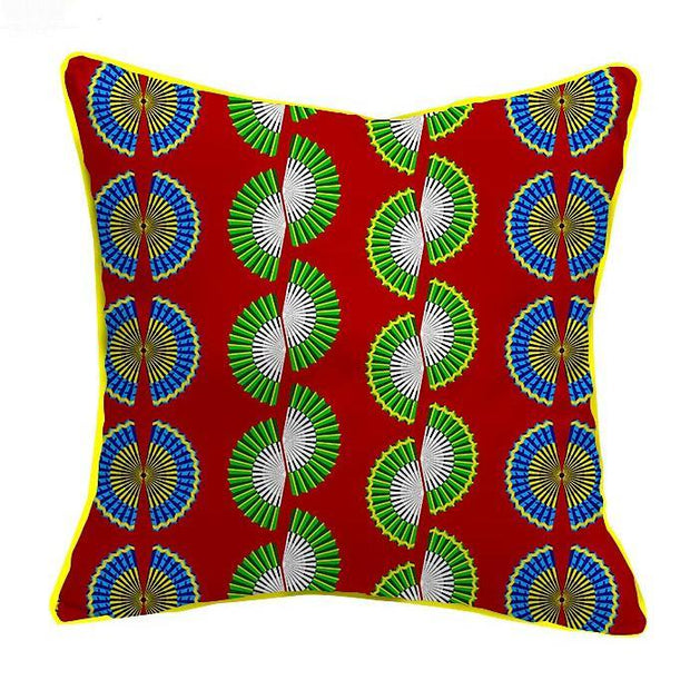 African Print Throw Pillow Covers - Red/ Blue/ Green - Afrilege