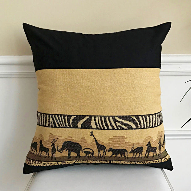 African Safari Decorative cushions Pillow covers - Brown / Black - Afrilege