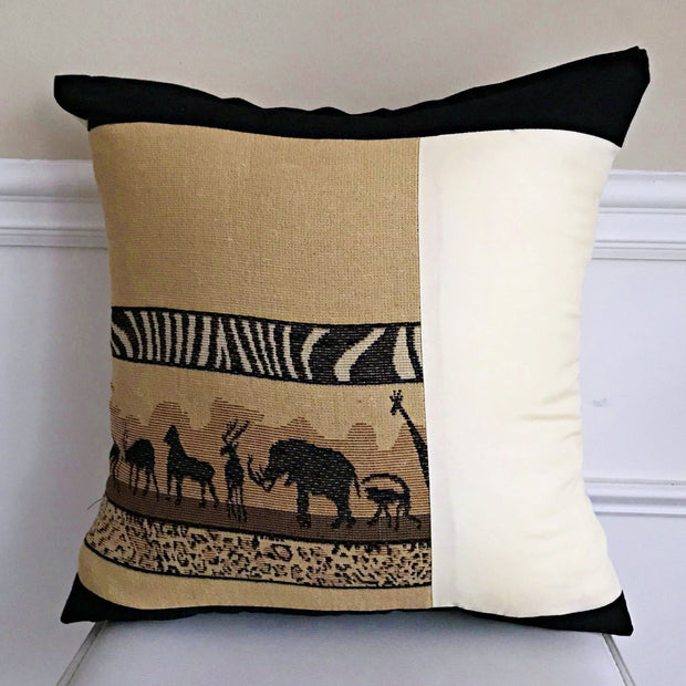 African Safari theme Decorative Pillow cushions - Brown / Beige / Black - Afrilege
