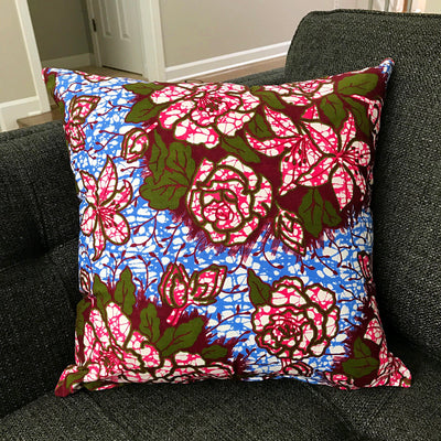 Aisha Floral African Print Throw Pillow Case - (Blue/ Pink / Green) - Afrilege