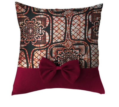 Bordeau African Print Throw Pillow Case with Bow - Afrilege