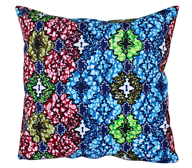 Fairy Floral African Print Throw Pillow Case - (Blue/ Green/ Red/ White) - Afrilege
