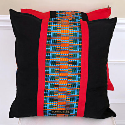 Jayde African Print Decorative Pillow cushions - Red / Black / Green - Afrilege