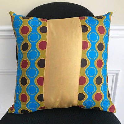 Malaika African Print Throw Pillow Covers / African decorative cushion - Blue / Gold - Afrilege
