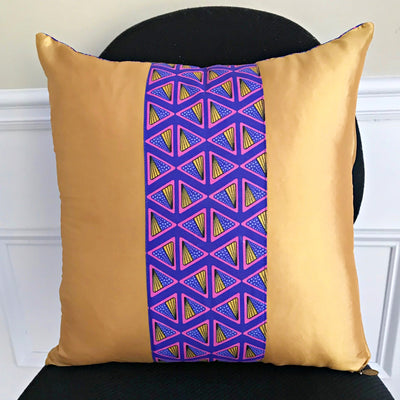 Nubia African Print Throw Pillow Covers / African decorative cushion - Purple / Gold - Afrilege