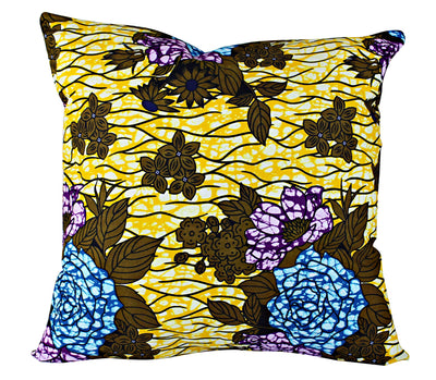 Salma Floral African Print Throw Pillow Case - (Yellow / Blue/ Purple) - Afrilege