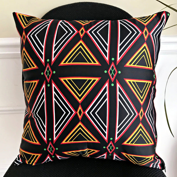 Toghu African Print Decorative Pillow cushions - Red / Black / Orange - Afrilege