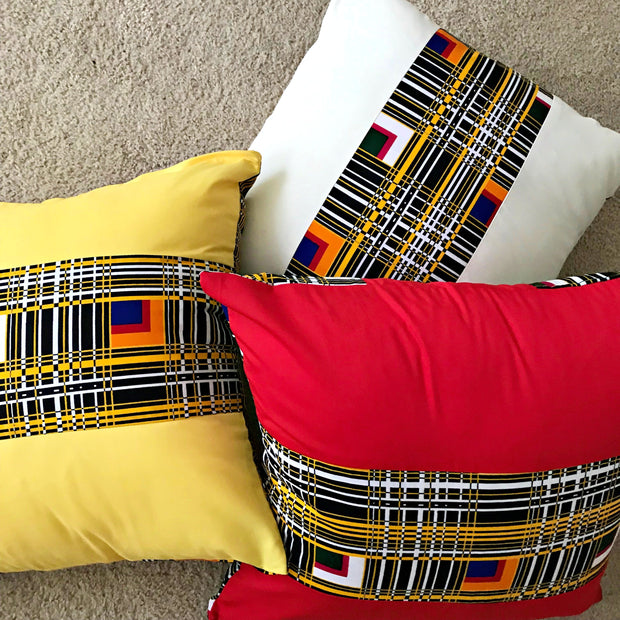 Zarah African Print decorative cushions - White - Afrilege