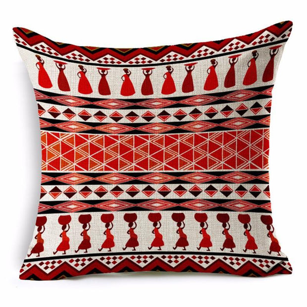 African Bohemian Pillow Covers - red & white - Afrilege