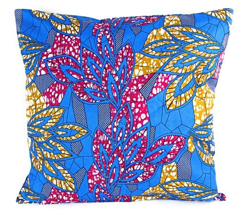African Print Two-Sided Pillow Covers (Blue, Pink & Yellow) - Afrilege