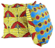 African Print Two-Sided reversible decorative cushion Pillow Covers ( Blue, Yellow) - Afrilege