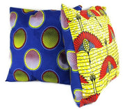 African Print Two-Sided Reversible decorative cushions Pillows (Blue, Yellow) - Afrilege