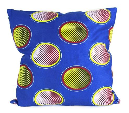 African Print Two-Sided Pillow Covers (Blue, Yellow) - Afrilege