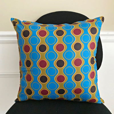 Malaika African Print Two-Sided reversible decorative cushion Pillow Covers ( Blue, Yellow) - Afrilege