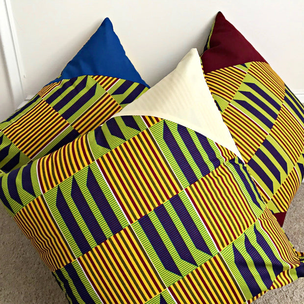 Sheena Kente African Print Afritude Pillow Covers - Yellow, green & purple - Afrilege