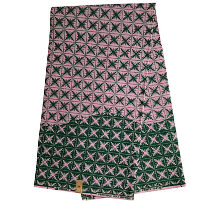 100% Cotton African Super Wax Fabric from Ivory Coast (6 yards) - Green / Pink - Afrilege