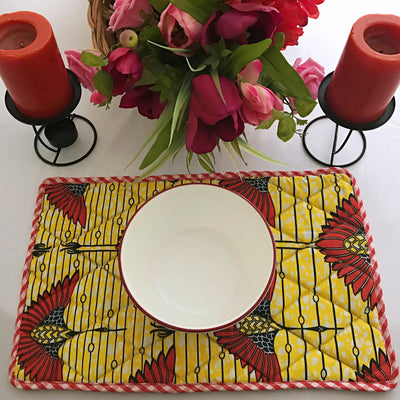 African Print Dining Placemats / Ankara Table Mats ( Yellow/ Yellow) - Afrilege