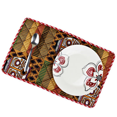 Afritude Reversible African Print Dining Placemats / Ankara Table Mats ( Brown / Purple) - Afrilege