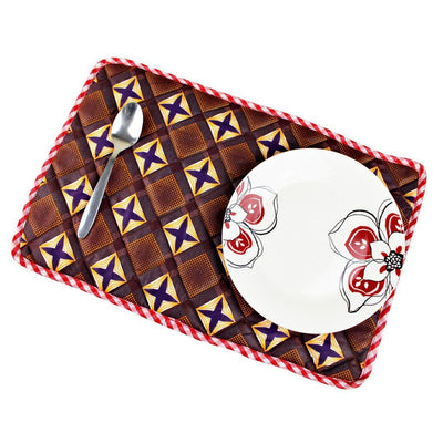 Reversible African Print Dining Placemats / Ankara Table Mats ( Brown / Red) - Afrilege