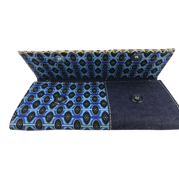 Afia African print Clutch / Ankara Purse Wallet - Denim/ Blue - Afrilege
