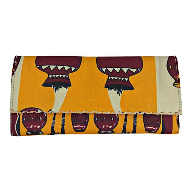 Chike African print Purse Wallet - Orange - Afrilege