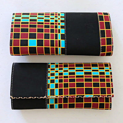Hadja African print Purse Wallet - Black / Red - Afrilege