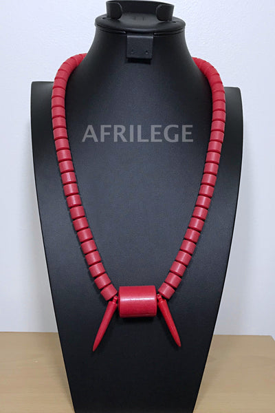 Red Nigerian Wedding beads necklace - Afrilege