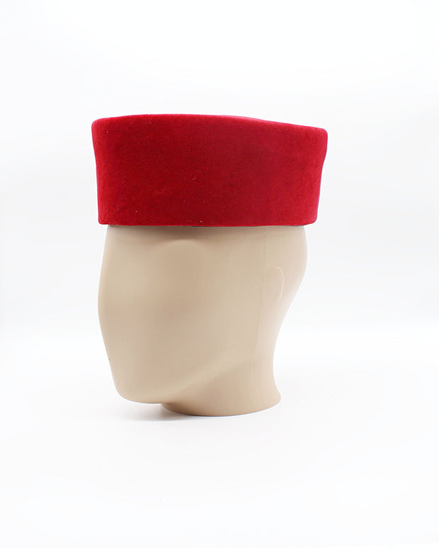 Red velvet hat for men - Afrilege