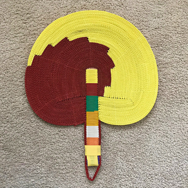 African woven hand fan from recycled plastics - Red / yellow - Afrilege
