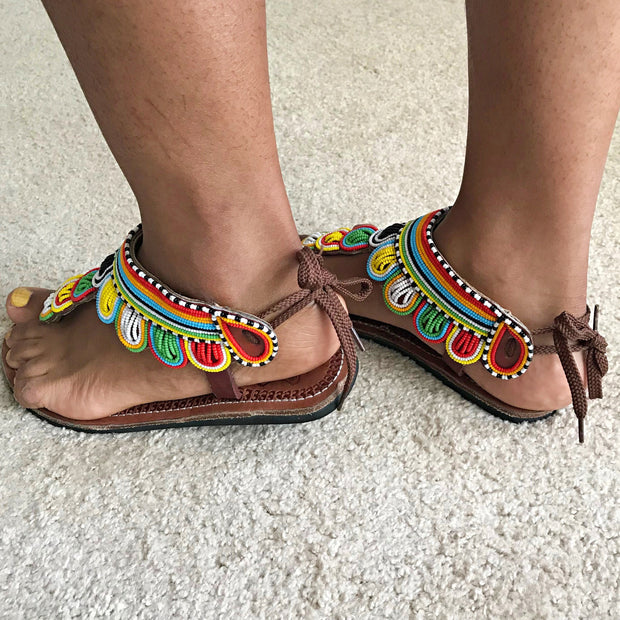 African Maasai Beads Women's Sandals - Afrilege