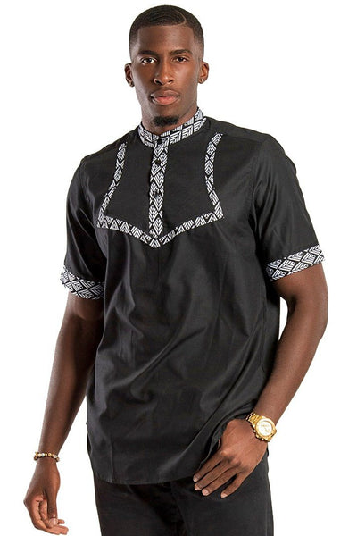 Zane African Print Men Shirt - Black & White - Afrilege