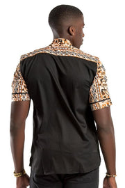 Adonis African  print Men Shirt - Black / Brown - Afrilege