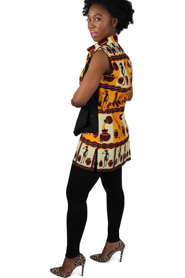 African print Chikere women's shirts with attached jacket - Afrilege