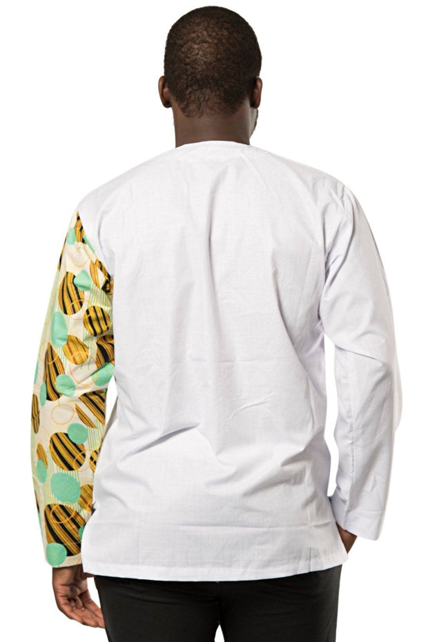 African Print Gueye Men's Wear Long Sleeve Shirt - white / green - Afrilege