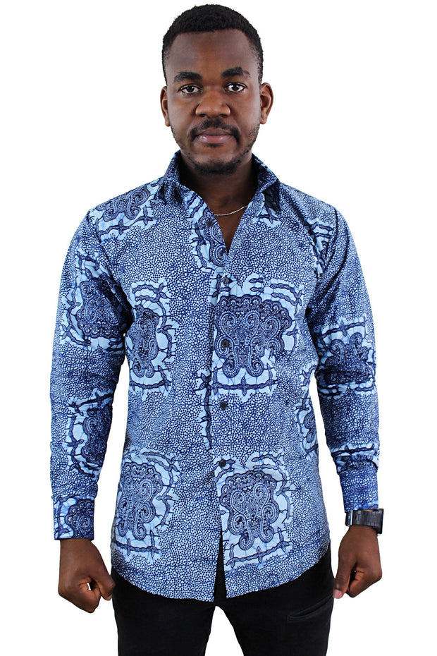 Abu African Print Long Sleeve Men's Shirt - Blue - Afrilege