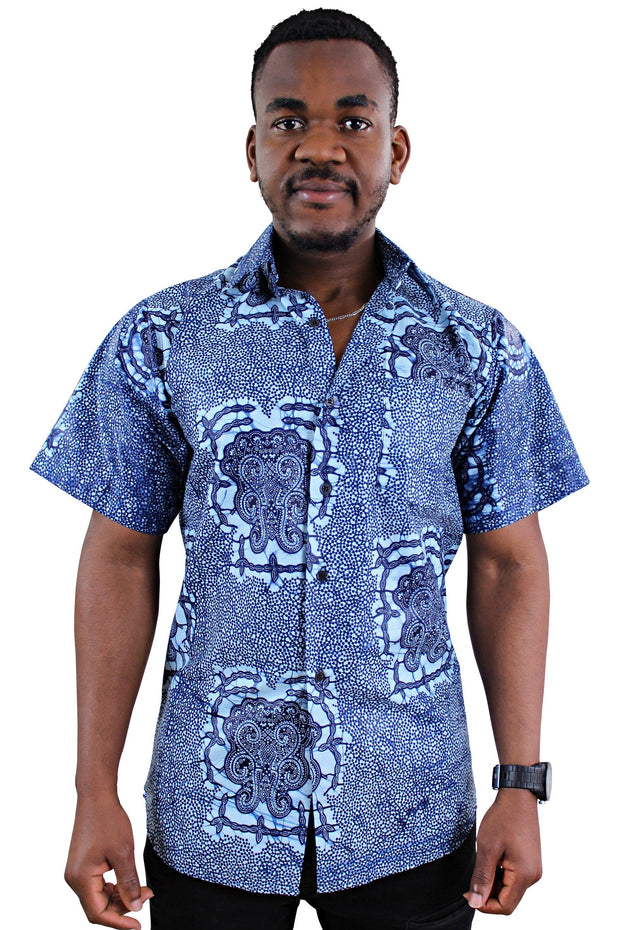 Abu African Print Short Sleeve Men's Shirt - Afrilege