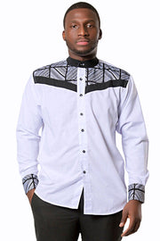 African Ucha Men Long Sleeve Shirt - white - Afrilege