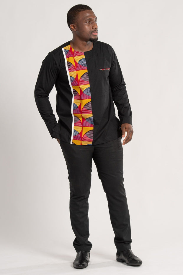 Aruna Long Sleeves African Print Men Shirt - Afrilege
