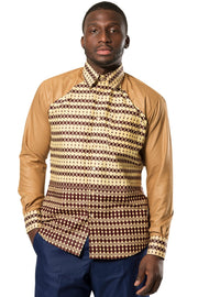 Aveye Men African Long Sleeve Shirt - Brown - Afrilege