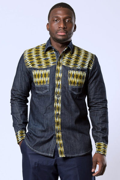 Desta African print Denim jeans long sleeve Men's shirt (yellow) - Afrilege