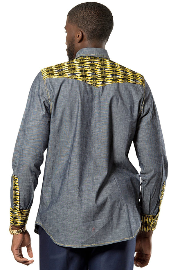 Desta African print light denim jeans men shirt - blue, yellow - Afrilege