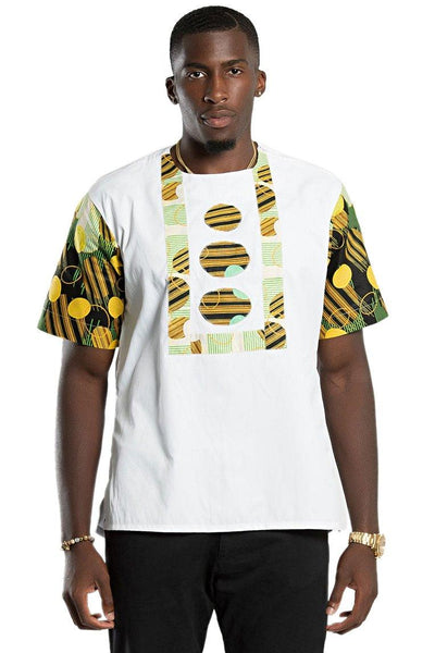 Gueye African Print Short Sleeve Men Shirt - White / Green - Afrilege