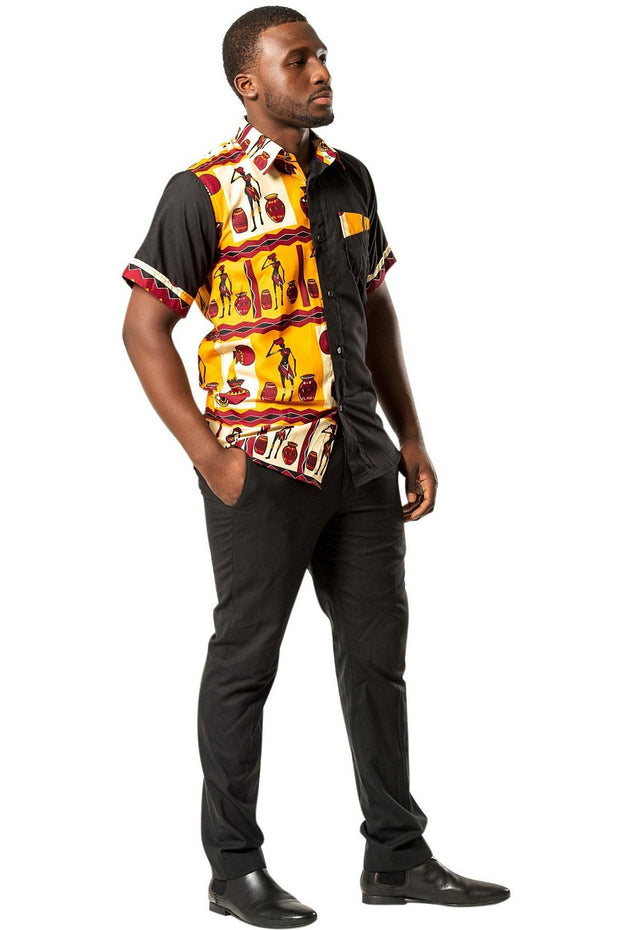 Chike African Print Men's Shirt - Orange / Black - Afrilege