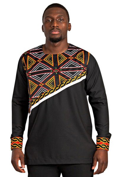 Toghu Bamenda Men African Print Shirt (Black/ red /white) - Afrilege