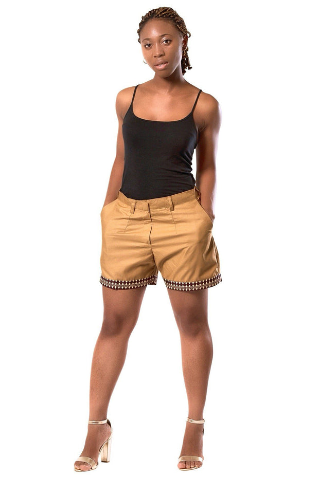 Aveye Women's African Print Shorts - Brown - Afrilege