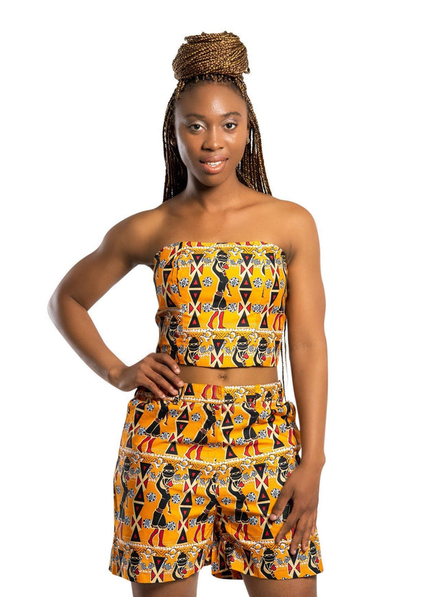 Masika African Print women's Short - Orange - Afrilege